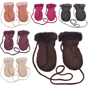 6bd234779476f Childrens Kids Genuine Sheepskin Thumb Mittens Mitts Keep Safe Cord ...