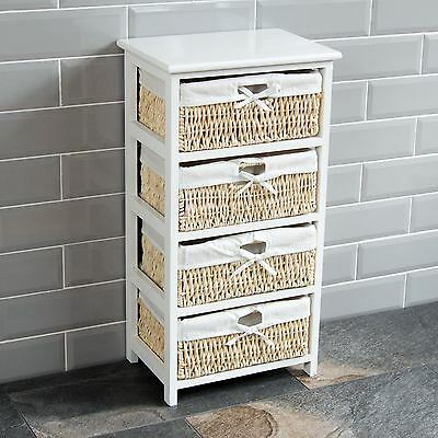 Wooden Storage Container Bathroom Bedroom 4 Maize White Unit By Home Discount