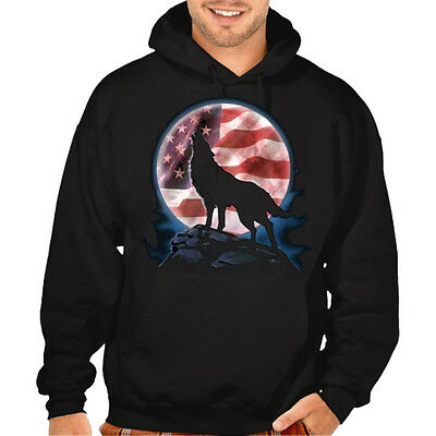 New American Moon Wolf Black Hoodie Sweatshirt S-5XL US Flag 911 USA animal