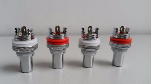 4Pcs High Quality Rhodium Plated RCA Socket Phono Chassis Female HIFI AMP HI END