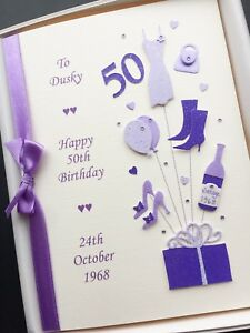 Image Is Loading 50th BIRTHDAY CARD FOR WOMEN Personalised Handmade Gift
