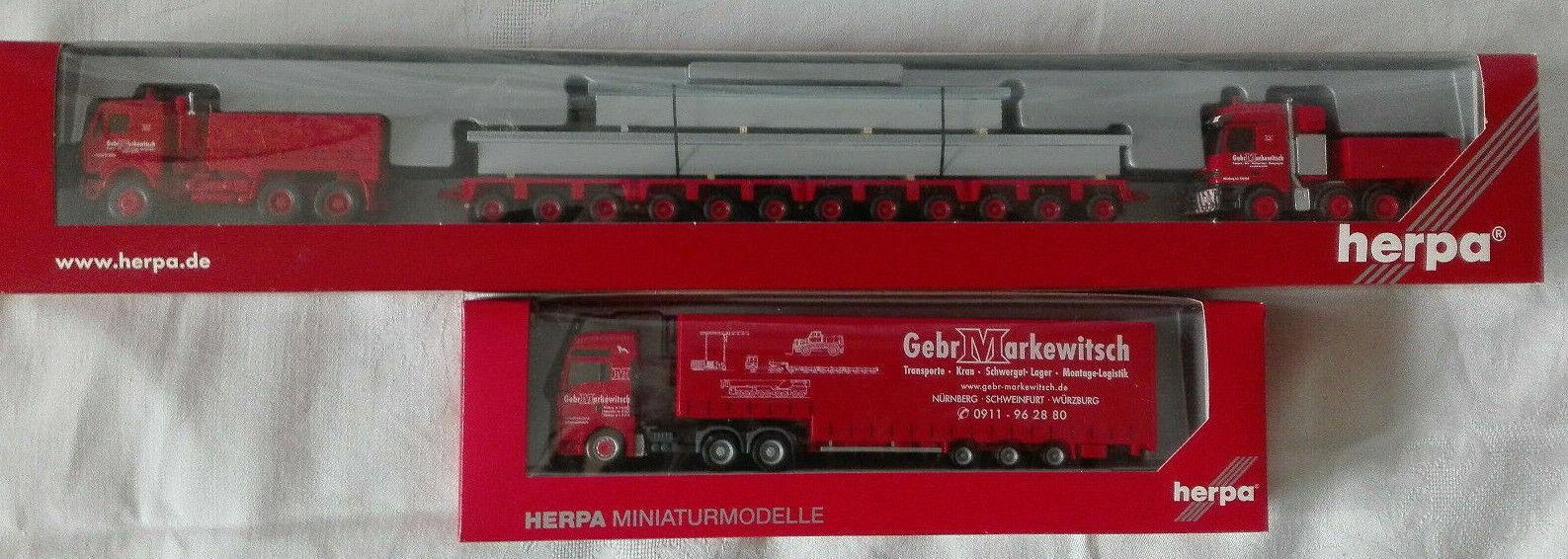 Herpa 1 87 H0 Schwerlasttransport + LKW  Firma  Markewitsch  OVP Neuwertig