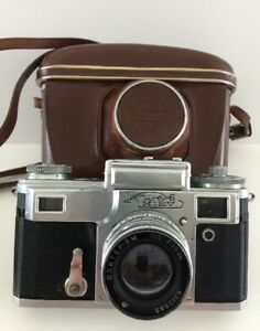 Kiev-Rangefinder-Camera-Contax-Mount-Russian-USSR-F5-Lens-w-Leather-Case