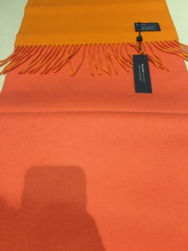 Made In Scotland Royal Orange Pink Cashmere Thick Scarf Limited Edition RRP £199