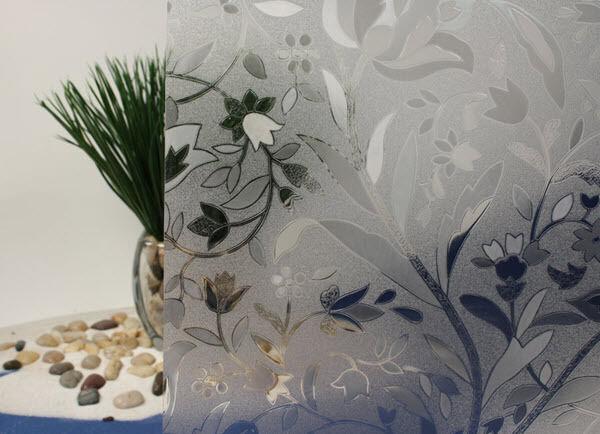 Flowers Cut Glass Static Cling Window Film, 36  Wide x 25 ft
