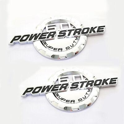 2x F250 F350 6.0L POWER STROKE SUPER DUTY Side Fender Emblem Badge Chrome Black
