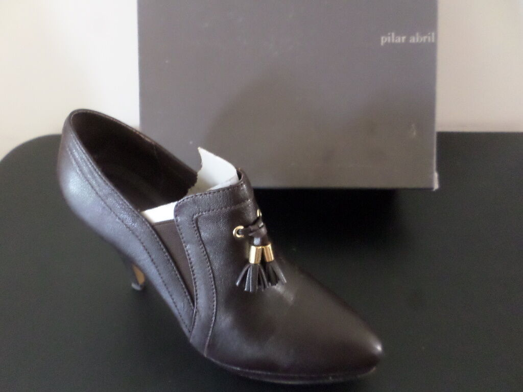 PILAR ABRIL - Brown Tassel Leather Platform 9 Shoe - WOMEN Size 9 Platform / 40 6bf222