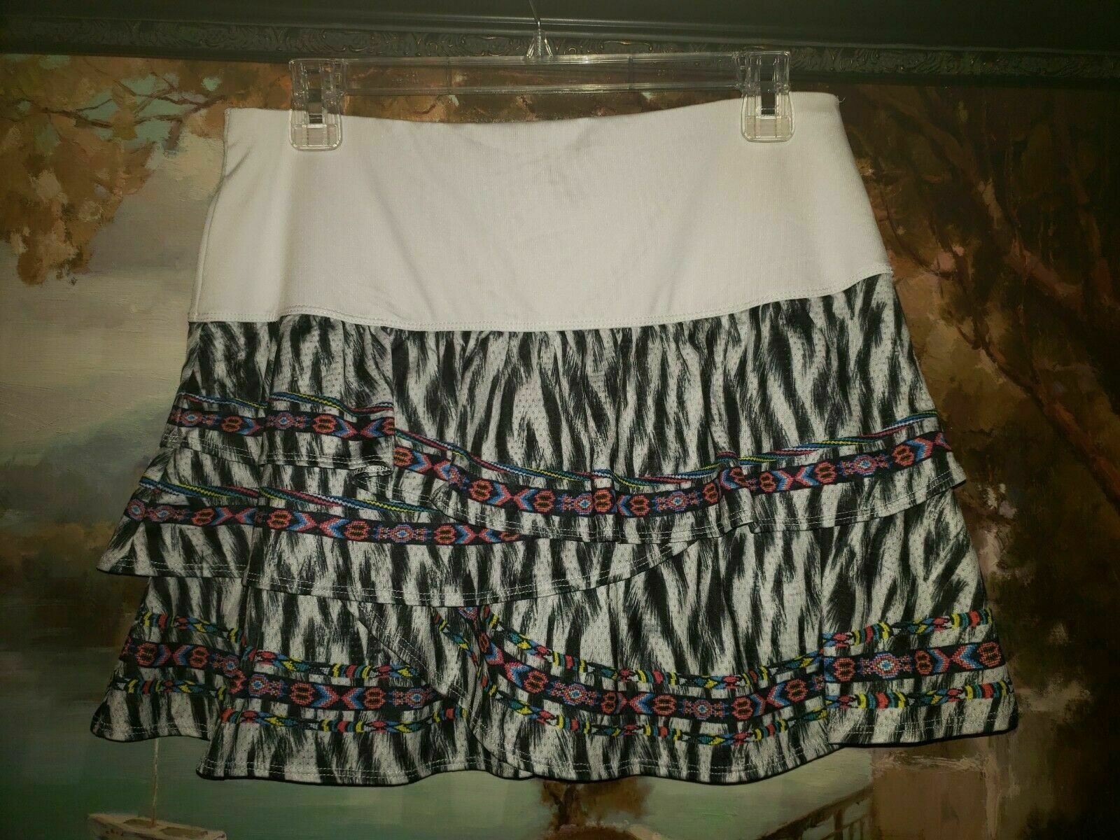 Lucky In Love Womens Fur Play Rouched Scallop Tennis Skirt sz Small