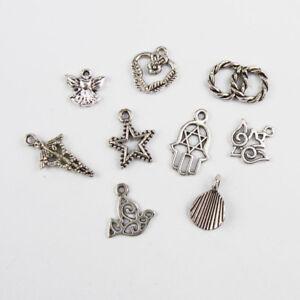 Lots Mixed 40pcs Tibetan Silver Skull Charms Pendant Jewelry Making Findings DIY