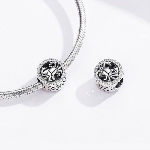 Cancer Bracelet Charms Vintage 925 Sterling silver CZ Beads Fit Chain VOROCO NEW