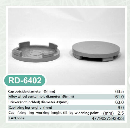 4x Außen 63,5mm Innen 61,0mm Nabenkappen Felgendeckel Radnabendeckel Grau NoLogo