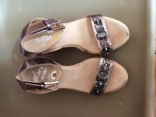Michael Kors metalic silver sandals jeweled espadrilles wedge  size  9 M