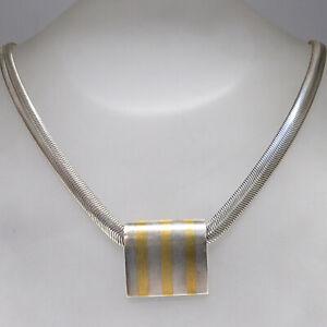 Details zu Collier Kette mit Anhänger in 925 Silber teils vergoldet Länge 40,5 cm