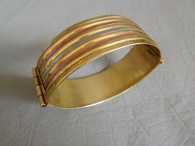 Bracelet Jonc Manchette Ovale 3 Tons Cuivre Rouge Laiton DorÉ Cuff Brass Bangle