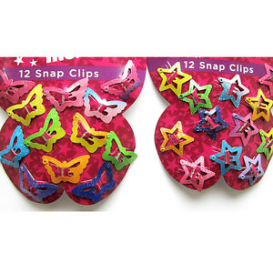 12pcs Star Butterfly Hair Clips Snaps For Girls Baby Kids
