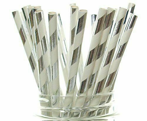 25Pcs Paper Drink Striped Straws Biodegradable Baby Shower Birthday Party