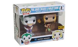 Joker-Beach-amp-Harley-Quinn-DC-Super-Heroes-Funko-Pop-figura-Set-RARE-HOT-TOPIC