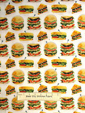 Deli Sandwich Club Food Cotton Fabric Robert Kaufman Lets Do Lunch White YARD