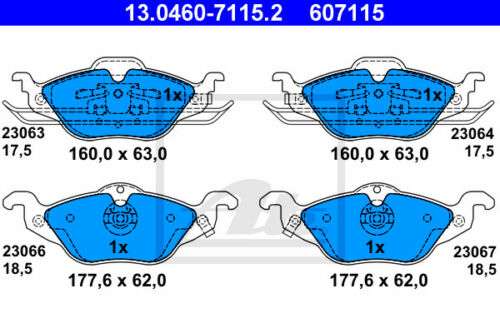 ATE Bremsbelagsatz Vorderachse T98 13.0460-7115.2 für OPEL ASTRA G Caravan VA