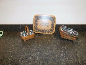Longaberger Sleigh&Basket, Parsley Basket, and CARD KEEPER Woodcraft Basket LID