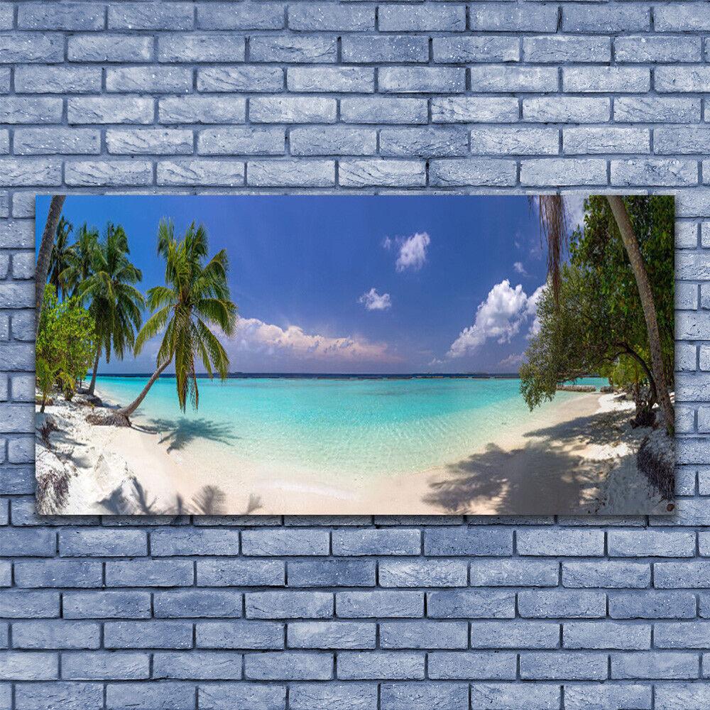 Glass print Wall art 140x70 Image Picture Sea Beach Palm Trees Landscape