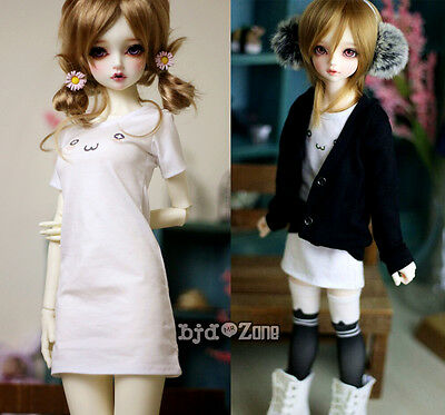 New BJD Low Collar White Sweater Flower Shape Teenager 1//3 1//4 MSD Doll Clothes