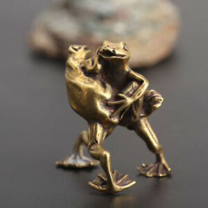 Chinese-Collection-Asian-Brass-Wrestling-Frog-Exquisite-fengshui-statue