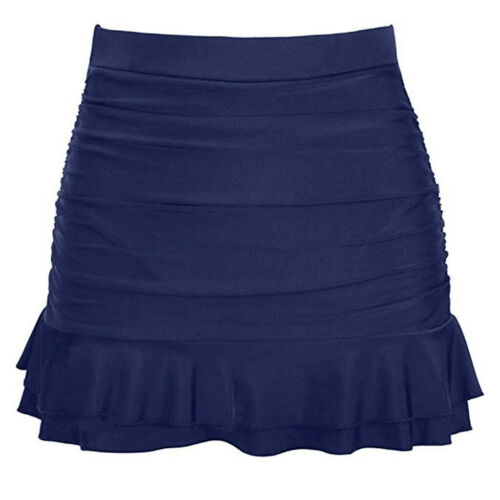 Women/'s Skirted Bikini Bottom High Waisted Shirred Bottom Ruffles Swimwear