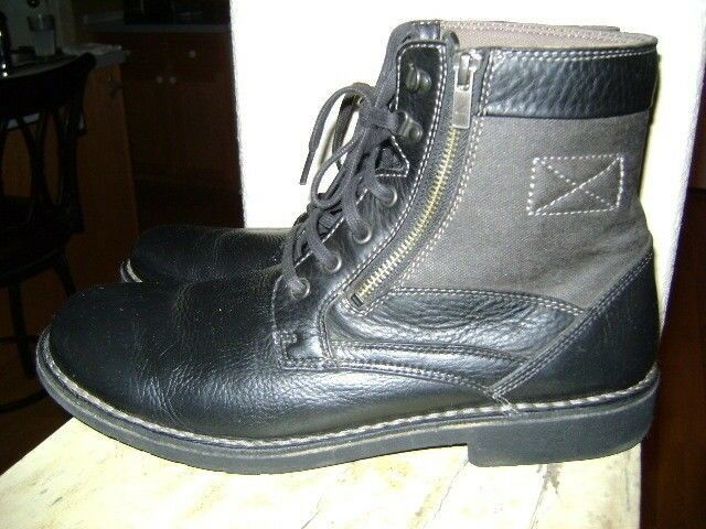 Clarks Boots Leather Lace Up Black 62071 Mens Size 12 Zip Ankle