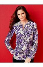NEW $89 TALBOTS Purple,Gray Baroque Floral Scrolls Blouse,Top Sz XS ( 2,4 )