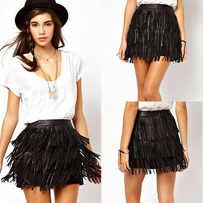 Women Sexy Spring Summer Short Elastic PU leather Tassels Mini Skirt Dres Black