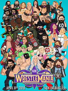 Wrestlemania-34-2018-Cartoons-Cena-Lesnar-Reigns-Wrestling-Glossy-Print-8x10-WWF