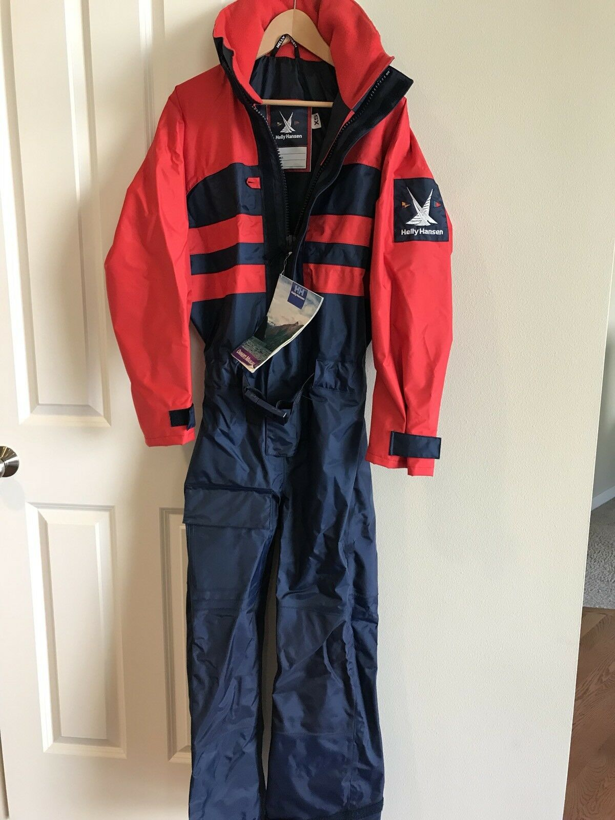 Helly Hansen NWT Coasal One Piece Sailing Suit Red Navy Size XS. Free Shipping