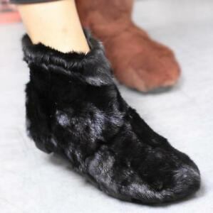 Womens-Boots-Shoes-Real-Fur-Warm-Comfort-Winter-Snow-Back-Zippers-Sweat-Ske15