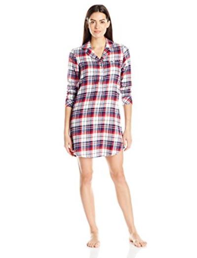Jockey Womens Flannel Plaid Long Sleeve Sleepshirt Holiday Tartan Small 176114b30