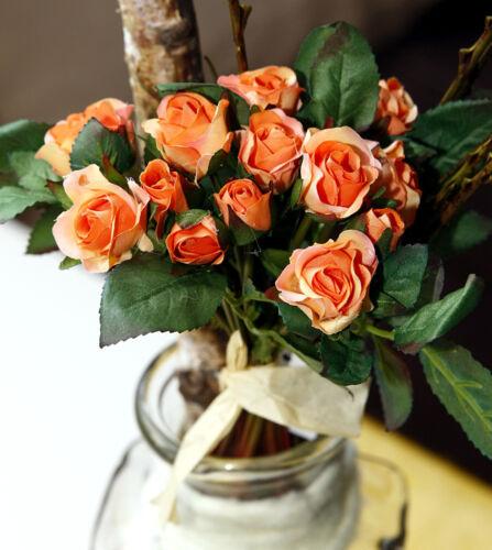 Kunstblume HobbyFun künstliche Rose Rosen-Strauss 25cm verschiedene Farben