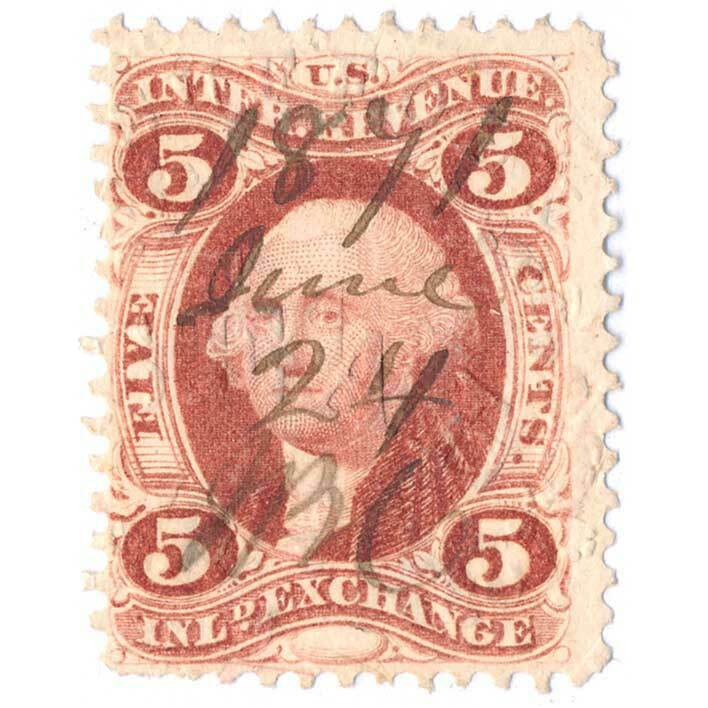 1862-71 5c U.S. Internal Revenue, George Washington, In