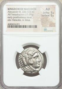 Macedonian Alexander III The Great 336-323 BC Tetradrachm Silver Coin NGC AU