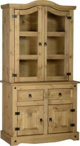 Corona-3-039-Buffet-Hutch-Distressed-Waxed-Pine-Glass-Wooden-Cabinet-Display-Unit