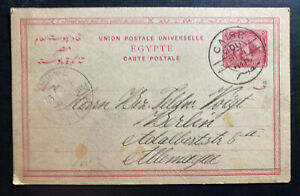 1891-Cairo-Egypt-Postal-Stationery-Postcard-Cover-To-Berlin-Germany