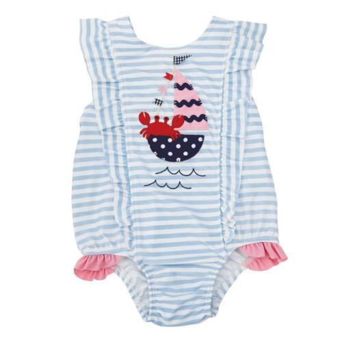 Mud Pie Sail Away Collection Ruffle 1 Pc Swimsuit Girls Baby Bathing Swim Suit