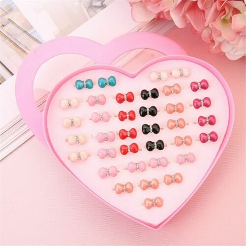 Pink Earring Storage Case Ring Holder Ring Box Heart-shape 36 Hole Jewelry Box