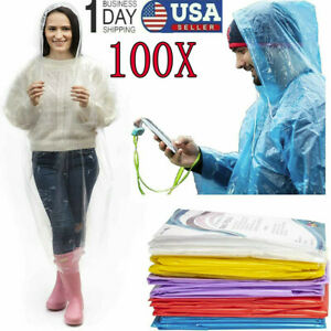 100PCS-Emergency-Hooded-Poncho-Rain-Coat-Disposable-Protect-Gown-Waterproof-wear