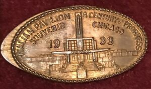 ITALY-1933-CHICAGO-WORLDS-FAIR-COIN-ITALIAN-PAVILION-Elongated-Penny
