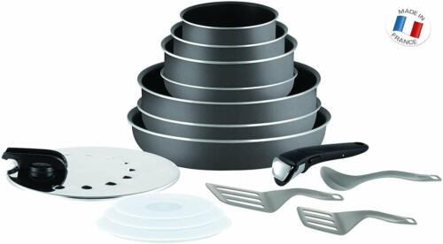 Non Induction Tefal Ingenio Minute 15 Piece Pan Set with Accessories Grey