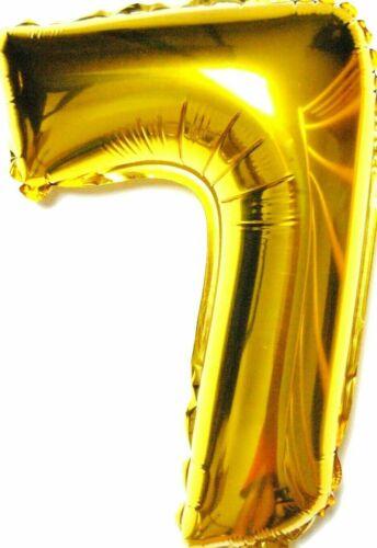 XL 70 cm not Helium Balloon diapositives Ballon Or Nombre 7 chiffres cadeau d/'anniversaire