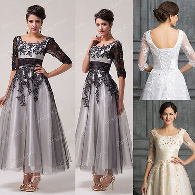 FREE SHIP Applique Vintage Evening Ball Gown Wedding Bridesmaid Prom Party Dress