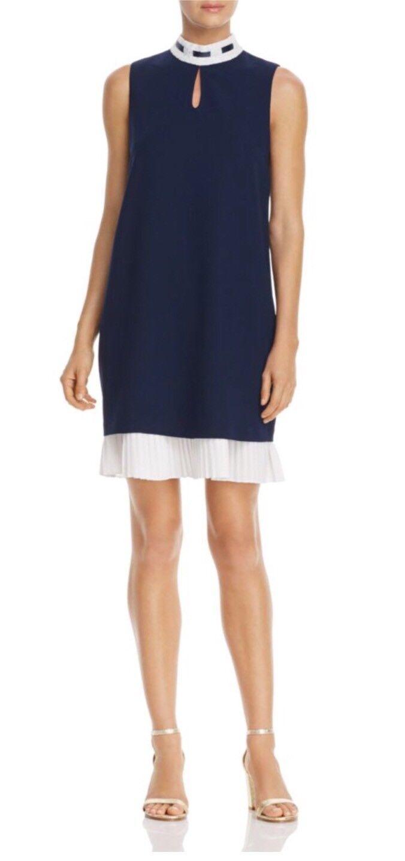 Nanette Nanette Lepore Dark Navy Marshmallow(ivory) Pleated-Hem Dress sz S