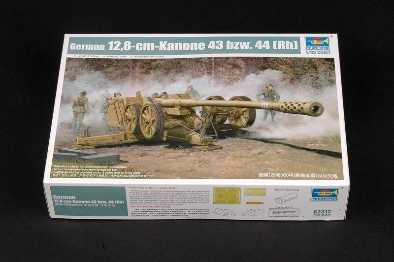 Trumpeter German 128MM Pak44 Anti-tank Gun Kanone 43 bzw.44(Rh) 02312 1 35 Scale