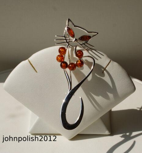 Wunderschöner Ostseebernstein Brosche Katze mit Silber 925